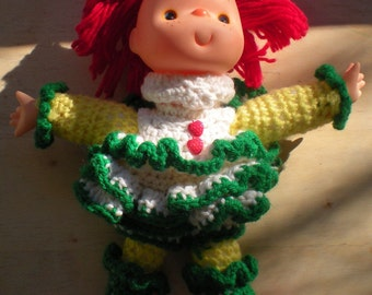 Crochet Doll, Vintage, Redhead Doll, Yarn Craft