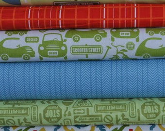 Cruiser Blvd Green Fat Quarter Bundle by Sheri McCulley Studio for Riley Blake, 6 pieces