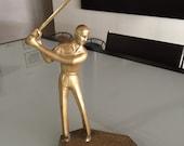 Brass Golfer Statue/ Golf Figurine/ Mid Century Golfer/Golfing/ Brass Statue/ By Gatormom13
