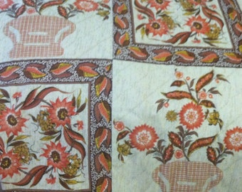 Retro Orange Flowers: Vintage 1960s Waverly Lined Curtain Drapery Set of Two Panels 63x56 free shipping