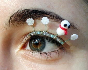 Snowman Puff Eyelash Jewelry - pompom eyelashes with snowflakes, snowmen, winter colors