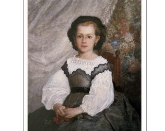 """Pierre-Auguste Renoir, """"Portrait de Romaine Lacaux"""", Color Plate of 1864, Unframed Fine Art Book Plate"""