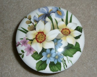 Royal Stafford for Victoria's Secret Bone China Floral Trinket Box, Made in England - Jewelry Box - Narcissus, Iris, Daisy