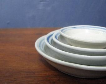 Vintage Ironstone Nesting Dishes Miniature Dishes White Blue Stripe Hand Painted Ironstone