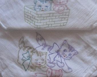 Four Mischievious Kittens Flour Sack Dish towels