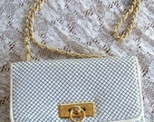 50% 1960s Mod White Leather Classic  Mesh Gold Chain Purse