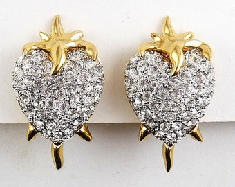 Hutton Wilkinson Flaming Heart Pave Rhinestone Earrings - Clip On