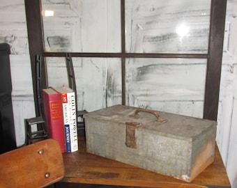Antique Primitive Galvanized Tool Box # 2