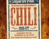 Chili Cook-Off BBQ Invitation *Digital Download*