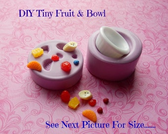 Make Miniature Fruit Bowl Molds Strawberry Orange Fruit Salad Doll House Fake Food