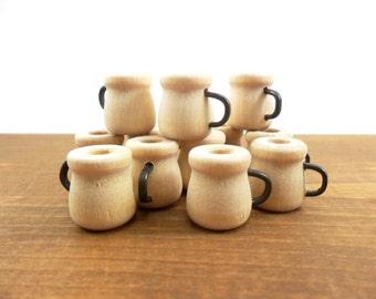 "Wood Bean Pots w/Wire Handle 11/16"" H x 9/16"" W Miniature Cup - 20 Pieces"