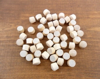 "100 Button Plugs Fit 5/16"" Screw Hole Unfinished Birch Wood Round Head Plug"