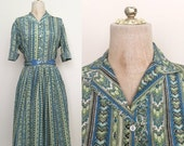 40% OFF 1950's Blue & Green Floral Striped Printed Dress Set Top and Skirt Size Small by Maeberry Vintage
