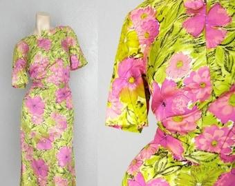 """SALE 1960's Floral Print Skirt + Blouse Vintage Silk Dress Sz M/L 29"""" Waist"""
