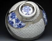 Big Japanese Noodle Soup Bowl, hand painted porcelain, traditional pattern, platinum luster, vintage decal