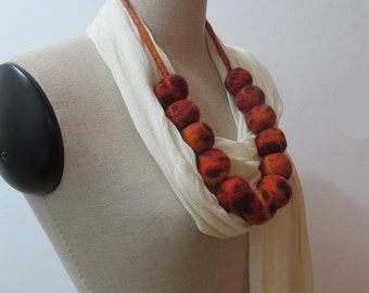 Felted necklace Eco-friendly Statement Lariat  Art necklace  fiery  red balls
