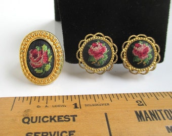 Rose Needlepoint Adjustable Ring w/ Matching Earrings - Vintage Gold Tone