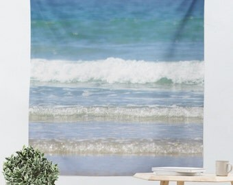 Dorm Room Tapestry - Dorm Tapestry - Nautical Tapestry - Beach Wall Hanging - Ocean Tapestry - Wall Decor Art - Blue and White Decor