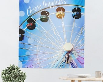 Wall Hanging - Typography Tapestry - Tapestry - Dorm Tapestry - Ferris Wheel Photo - Choose Happiness - Dorm Wall Art - Blue Dorm Decor
