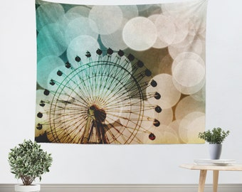 Wall Tapestries wall hanging tapestry At the Fair fine art photography Ferris Wheel home decor aqua blue circles Nursery Art