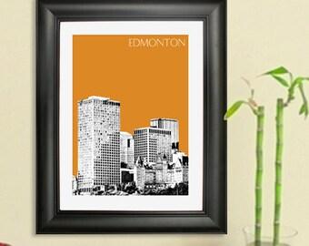 Edmonton Skyline Poster #1- Edmonton Canada Skyline Art Print - 8 x 10 Choose Your Color