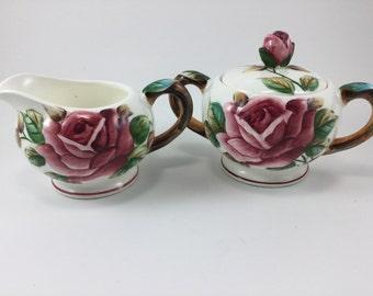 Vintage Lefton Americana Rose Pattern Creamer and Sugar Made in Japan
