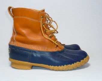 LL BEAN Hunting Duck Boots Womens 9 Ankle WORK Boot Lace Up Moccasins Shoes 80's