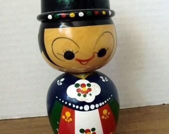 Vintage Wooden Bobble Head figurine
