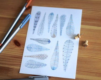Feather Art - Feather Drawing - Nature Art - Blue Feather Art - Feather Print - Feather Picture - Blue Feathers - Boho Feathers - Feathers