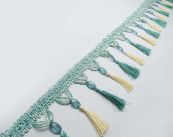 """Green Tassel Trim Upholstery Ribbon Curtain Fringe Lace 4.4"""" Trim Indian Hand Made Beaded Home Decor Fringes Curtain Trim By 1 Yard FRT370B"""