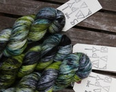 Frogtown - Hand Dyed Sock Yarn - MCN yarn - Superwash yarn - Grey Green Yellow Teal - dyed by Stimpylab