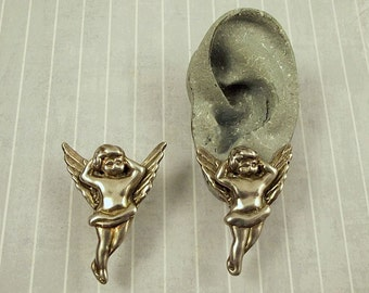 Vintage GW 925 Reclining Cherub Earrings, Electroform Sterling Angel, Signed GW Winged Putto Putti Jewelry