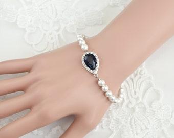 Blue Sapphire Bracelet, Bridal Bracelet, Swarovski Pearls and CZ Blue Sapphire Teardrop Bracelet, Something Blue Bracelet, Bridal Jewelry