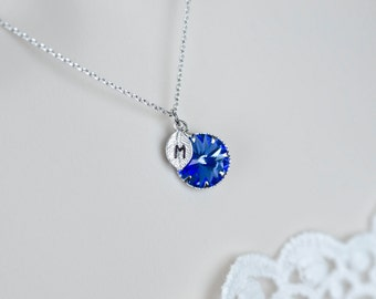 Blue Sapphire Initial Necklace, Blue Sapphire Swarovski Rivoli Initial Necklace, September Initial Necklace, Bridesmaids Personalized Gift