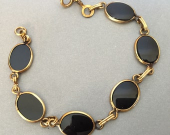 Vintage Onyx Bracelet in black with Gold Filled setting a true classic and stunning with that little black dress makes a great Gift for her