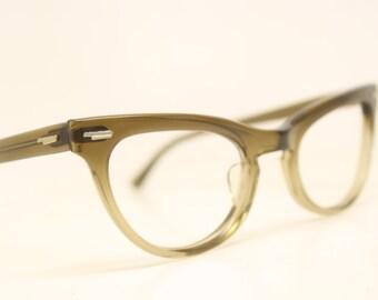 NOS Brown Fade cat eye glasses vintage cateye frames eyeglasses NOS