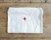 RED CROSS Zippered Pouch - Vintage grain sack bag with hand-stitched red cross