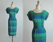 60's Fitted Dress // Vintage 1960's Jewel Tone Blue Green Fitted Mad Men Dress S