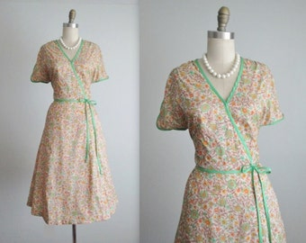 70's Floral Dress // Vintage 1970's Floral Print Full Garden Party Summer Day Dress