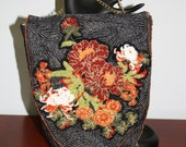 Hand Beaded Purse Flowers on Black Abstract Fabric