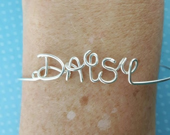 Disney Personalized Name Bracelet, Silver Name Bangle, Custom Name,  Disney Gift, Disney Jewelry for Girls, Wire Wrap Name Bangle, kids gift