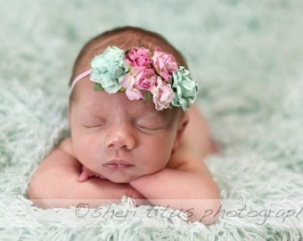 Floral Headband - Garden Party Headband - Newborn Headband - Baby Headband - Aqua and Pink Flower Headband - Skinny Elastic - Flower Crown