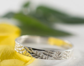 Ash Womans Wedding Band: A petite 3mm wide sterling silver ash textured wedding band