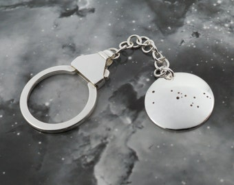 Silver Taurus key chain: The constellation of Taurus on a sterling silver key chain