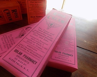 Antique Rose Cream Box - Empty Boxes - Pink Black - Altered Art