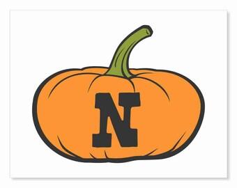 Printable Digital Download DIY - Fall Art Monogram Pumpkin - short N - Print frame or cut out for seasonal Halloween decorating orange black