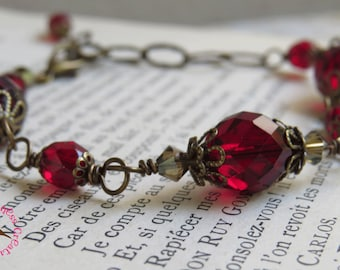 Blood Red Glass Bracelet, Downton, Red Victorian Bracelet, Blood Red, Neo Victorian, Adjustable, Rosary Style Red, by MagpieMadness for Etsy