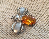 Sterling Silver Amber Bee Brooch
