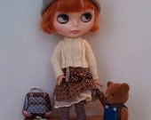 Outfit for Blythe and Pullip: knitted wool sweater and cotton skirt