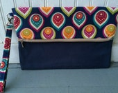 Fold Over Envelope Clutch Purse Bag, with Wristlet Strap & Zipper Closure - Blue, green, gold, yellow and teal pattern